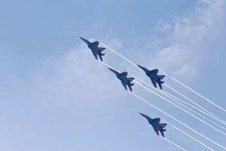 aerobatic: The Strizhi aerobatic team at air show at St.Petersburg, Russia (IMDS 2007).  Stock Photo