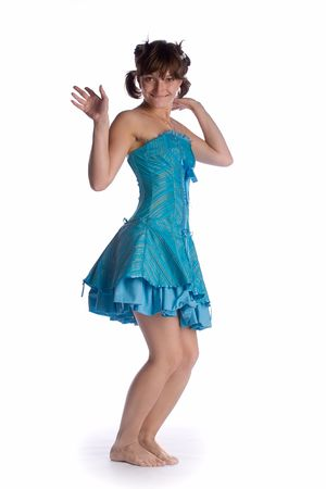 dancing girl in blue dress isolated on white background Stock Photo - 1351679