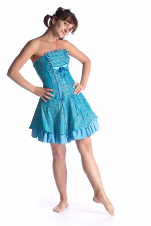 dancing girl in blue dress isolated on white background Stock Photo - 1351683