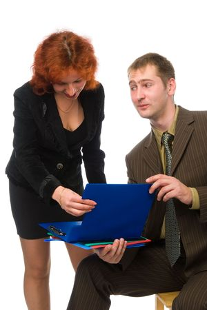 businessman looking in y decollete of his secretary woman instead of business folders, isolated on white Stock Photo - 1828302