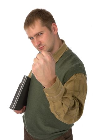 young man in shirt and vest with laptop shaking his fist, isolated on white photo