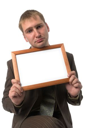 sad businessman with unhappy glance and blank frame in hands, isolated on white Stock Photo - 2005470