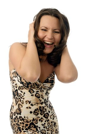 pretty woman with happy surprised smile isolated on white photo