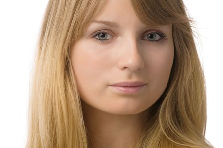 closeup portrait of blond young gray-eyed woman over white photo