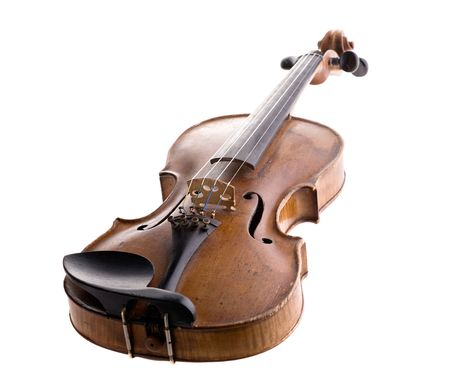 old violin close-up isolated on white background Stock Photo - 2470555