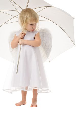 little girl in white dress and wings of angel under white umbrella Stock Photo - 2481389