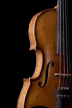 string instrument: old violin close-up isolated on black background