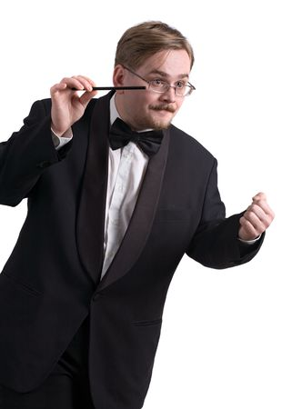 Music conductor wearing a black tuxedo, isolated on white background