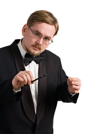 Music conductor wearing a black tuxedo, isolated on white background photo