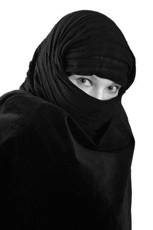 glance of woman in black shawl, isolated on white photo