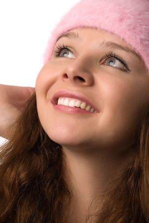 close-up portrait of young happy smiling woman photo
