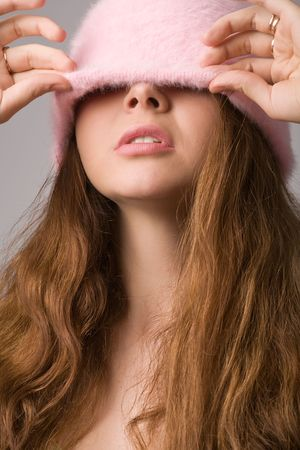 young beautiful woman with closed eyes close-up portrait photo