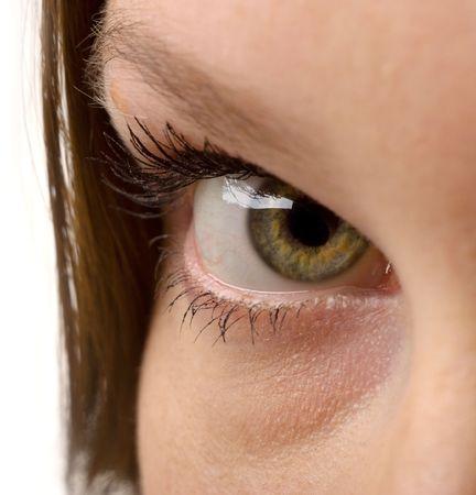 close-up shot of beautiful woman eyes, isolated on white background photo