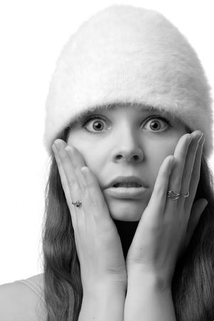 Close-up portrait of confused woman, isolated on white Stock Photo - 2660611