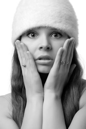 Close-up portrait of confused woman, isolated on white Stock Photo - 2660692