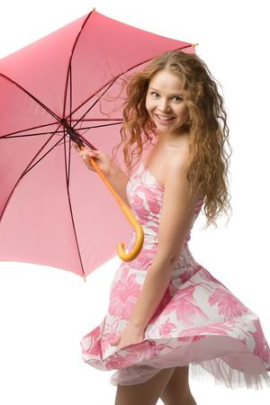 young long-haired girl in beautiful summer dress with pink umbrella in hands isolated on white