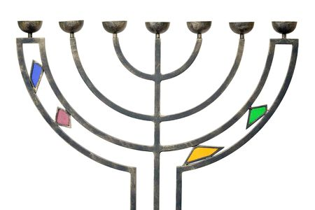 judaic Hanukkah menorah isolated on white Stock Photo - 3058414