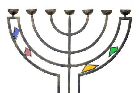 judaic: judaic Hanukkah menorah isolated on white Stock Photo