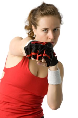 young athletic woman in boxing gloves and sport clothes isolated on white photo