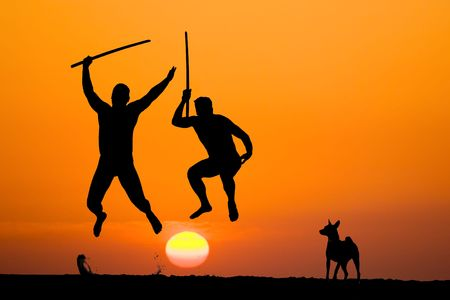 silhouette of two flying warriors with swords in hands on sunset photo