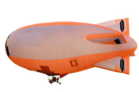 flying orange blimp isolated on white background