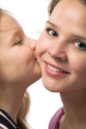 little daughter kissing her beautiful young mother photo