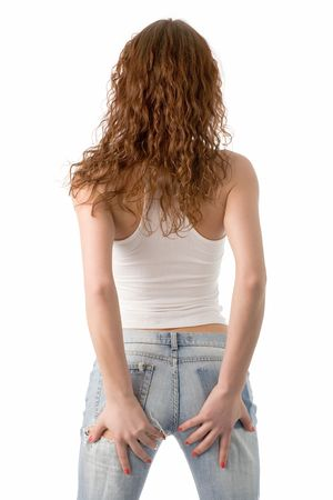 hand on hip: young beautiful woman isolated on white, back view