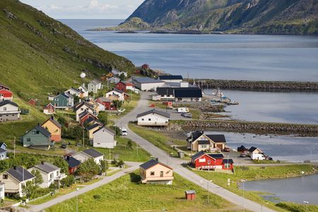 norge: small norwegian fishers village on Barents Sea coast