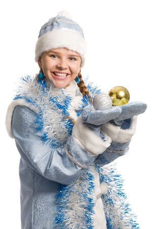 Snow girl with christmas-tree decorations on palms looks at camera, isolated on white photo