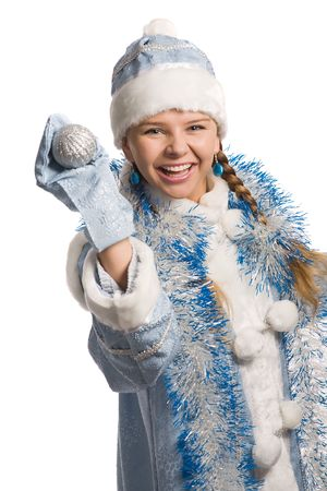 Laughing snow girl with christmas-tree decoration, isolated on white Stock Photo - 3884942