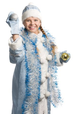 Laughing snow girl with christmas-tree decoration, isolated on white Stock Photo - 3884931