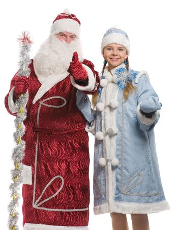 Santa Claus and snow maiden giving thumbs-up sign, isolated on white photo