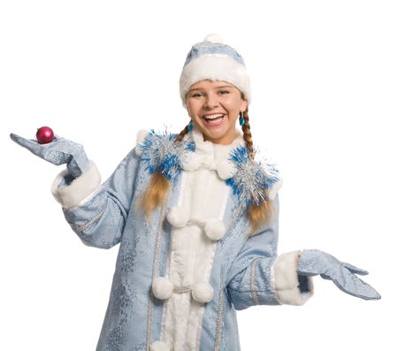 Smiling Snow maiden, isolated on white photo