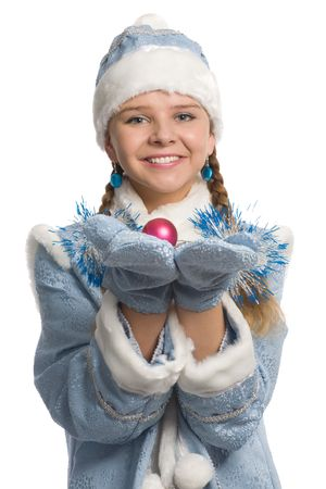 Smiling snow maiden showing christmas-tree decoration, isolated on white Stock Photo - 3884936