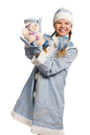 Smiling snow maiden with bear toy, isolated on white Stock Photo - 3884953