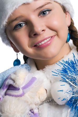 Beautiful snow maiden portrait, isolated on white Stock Photo - 3884939