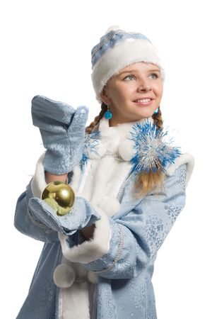 Snow maiden with christmas-tree decoration looks upward, isolated on white photo
