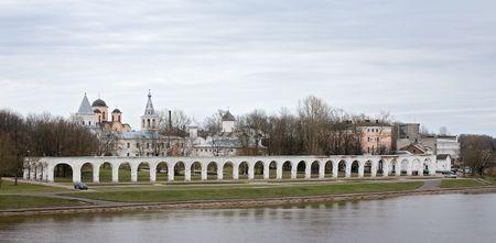 Panorama of embankment opposite Kremlin in Great Novgorod, Russia photo