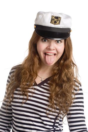 long tongue: beautiful girl in a stripped vest and naval cap with long hair putting her tongue out, isolated on white Stock Photo