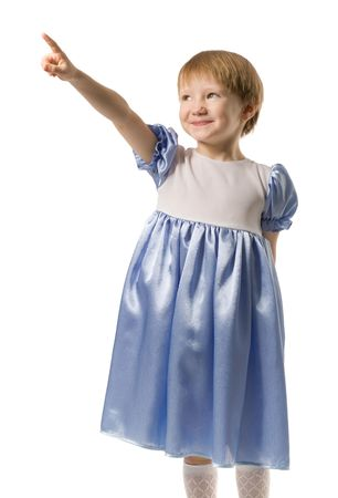 beautiful little girl in white-blue dress showing something by her finger, isolated on white Stock Photo - 3929603