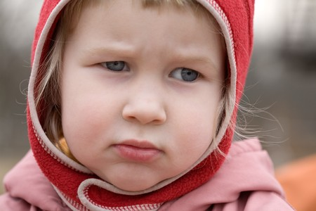 sad little girl, autumn, portrait Stock Photo