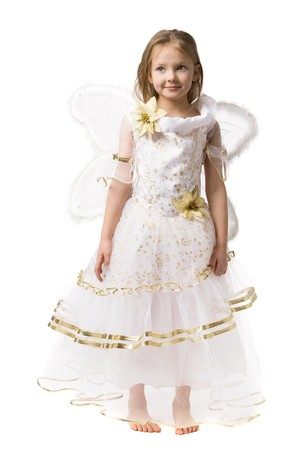 little girl in  beautiful dress with butterfly wings isolated on white photo