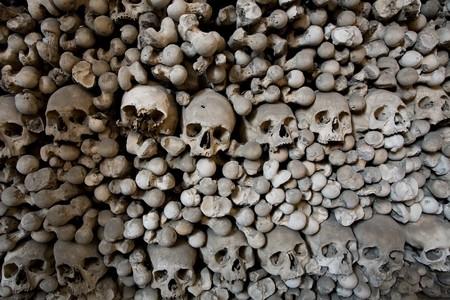 human bones and skulls in ossuary closeup Stock Photo - 4211291