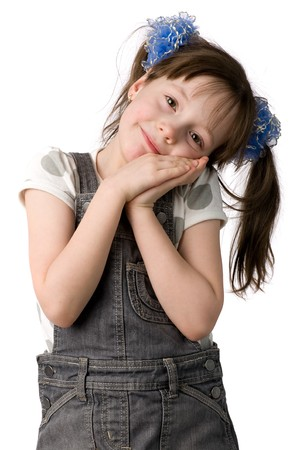 pony tail: Little girl with pony tail put head on hands, isolated on white