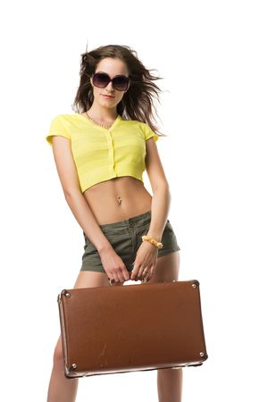 Beautiful girl in sunglasses with a suitcase in hands, isolated on white Stock Photo - 4711912