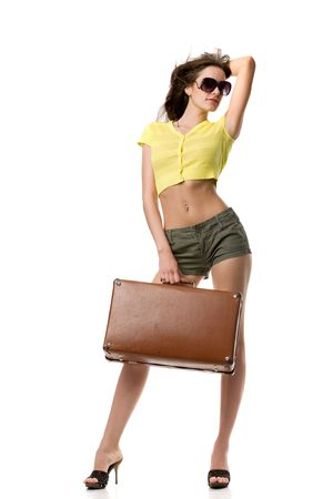happy woman with suitcase and in sunglasses isolated on white