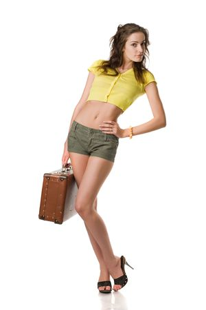 happy woman with suitcase isolated on white Stock Photo - 4727589