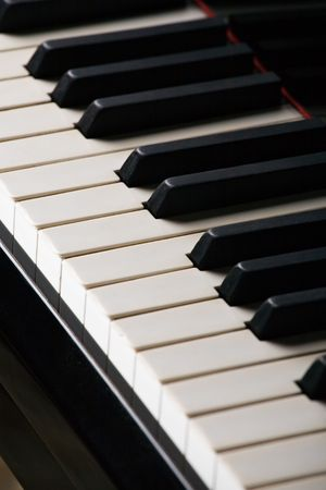 ivories: classic piano keyboard close-up with selective focus