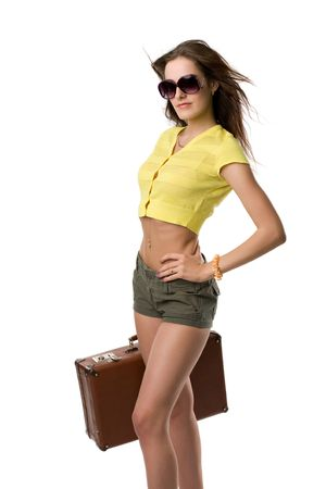 happy woman with suitcase and in sunglasses isolated on white photo