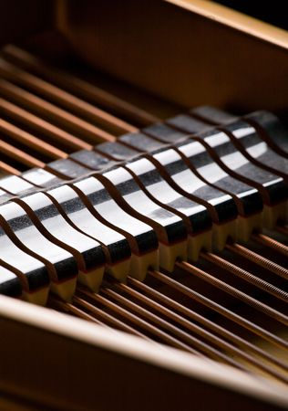 damper: various details inside of grand piano